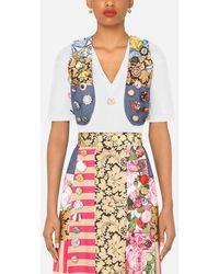 Dolce & Gabbana Patchwork Brocade, Denim And Jacquard Vest - Blue
