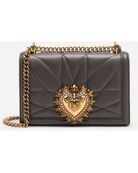 Dolce & Gabbana Large Devotion Bag In Quilted Nappa Leather - Grigio