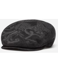 Dolce & Gabbana Jacquard Flat Cap With Large Flowers - Schwarz