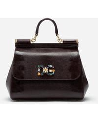 Dolce & Gabbana Medium Iguana Print Calfskin Sicily Bag With Crystal Dg Logo Patch - Morado