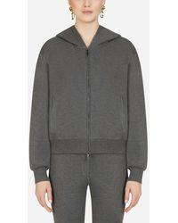 Dolce & Gabbana Sweatshirt Aus Kaschmir Mit Kapuze Und Rei?Verschluss - Grau