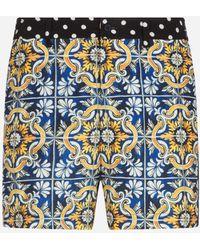 Dolce & Gabbana Medium Swimming Shorts With Maiolica Print On A Blue Background - Azul