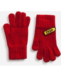 Dolce & Gabbana Knit Gloves With Patches - Red