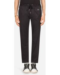Dolce & Gabbana Jogging Pants In Stretch Cotton - Negro