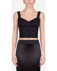 Dolce & Gabbana Shaper Corset Bustier Top In Jacquard And Lace - Negro