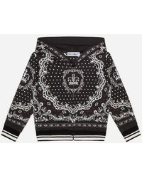 Dolce & Gabbana Jersey-Kapuzensweatshirt Bandanadruck - Schwarz