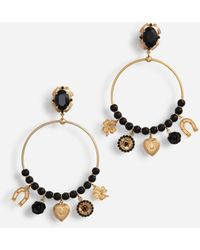 Dolce & Gabbana Pendant Hoop Earrings With Votive Decorations And Small Roses - Mehrfarbig