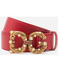 Dolce & Gabbana Calfskin Belt With Dg Amore Logo - Rot