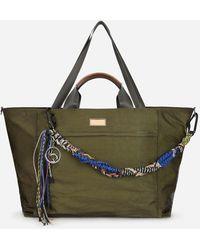Dolce & Gabbana Nero Sicilia Dna Nylon Travel Bag With Branded Tag - Green