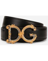 Dolce & Gabbana Calfskin Belt With Logo - Nero