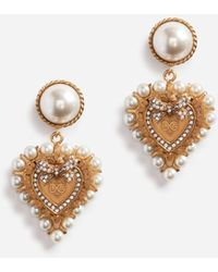 Dolce & Gabbana Drop Earrings With Decorative Sacred Heart And Pearl Details - Metallic