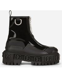 Dolce & Gabbana Rubberized Calfskin And Patent Leather Ankle Boots With Dg Logo - Black