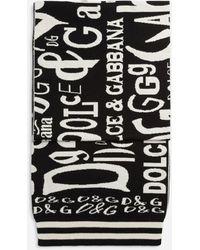 Dolce & Gabbana Cashmere Knit Scarf With Jacquard Lettering - Schwarz