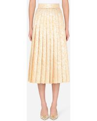 Dolce & Gabbana Pleated Lamé Jacquard Midi Skirt - Neutre