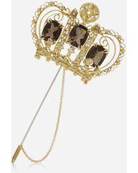 Dolce & Gabbana Kronenbrosche Mit Quarzen Und Diamanten - Mettallic