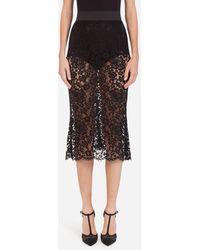 Dolce & Gabbana Long Mermaid Skirt In Lace - Noir