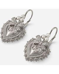 Dolce & Gabbana Devotion Earrings In White Gold With Diamonds And Pearls - Multicolore