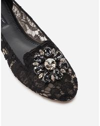 Dolce & Gabbana Slipper In Taormina Lace With Crystals - Nero
