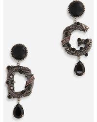 Dolce & Gabbana Clip-on Drop Earrings With Dg Logo - Multicolour