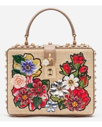 Dolce & Gabbana Dolce Box Bag In Braided Raffia With Thread Embroidery - Natur