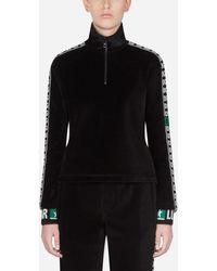 Dolce & Gabbana Sweatshirt Aus Samt Mit Streifen Dg Logo - Schwarz