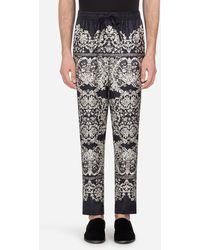 Dolce & Gabbana Pantalón De Pijama En Seda Estampada - Negro