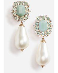 Dolce & Gabbana Pendant Clip-on Pearl And Rhinestone Earrings - Metallic