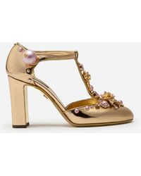 Dolce & Gabbana Mirrored Calfskin T-strap Shoes With Jewel Embroidery - Multicolor