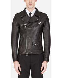 Dolce & Gabbana Leather Biker Jacket - Noir