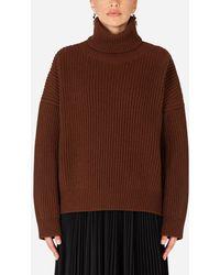Dolce & Gabbana Ribbed Cashmere Turtle-Neck Sweater - Marron