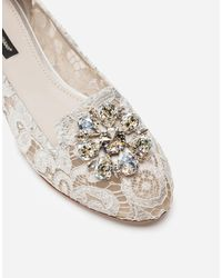 Dolce & Gabbana Slipper In Taormina Lace With Crystals - Bianco