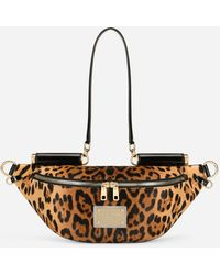 Dolce & Gabbana Small 90es Sicily Belt Bag In Leopard-print Pony Hair With Branded Plate - Multicolour