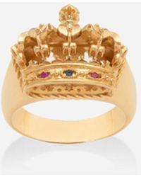 Dolce & Gabbana Crown Yellow Gold Ring - Mettallic