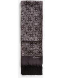 Dolce & Gabbana Silk Jacquard Scarf With Fringing - Braun