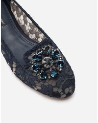 Dolce & Gabbana - Slippers De Encaje Taormina Con Cristales - Lyst