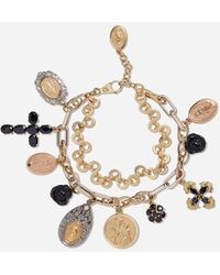 Dolce & Gabbana Yellow, White And Red Gold Devotion Bracelet With Black Sapphire And Black Jade Roses - Métallisé