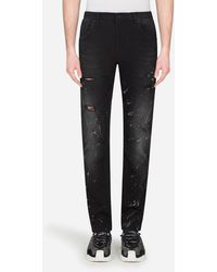 Dolce & Gabbana Slim-Fit Jeans With Color Splash Effect - Azul