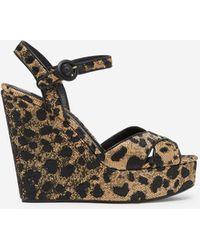 Dolce & Gabbana Raffia Leopard Print Wedge Sandals - Multicolour