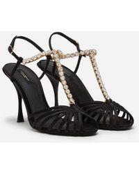 Dolce & Gabbana - Sandale Aus Satin Mit Schmuckapplikation - Lyst