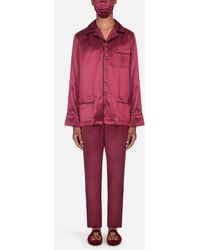 Dolce & Gabbana Silk Robe With Matching Face Mask - Red