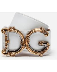 Dolce & Gabbana - Calfskin Belt With Logo - Lyst