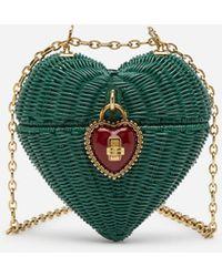 Dolce & Gabbana Dolce Heart Box In Painted Wicker - Green