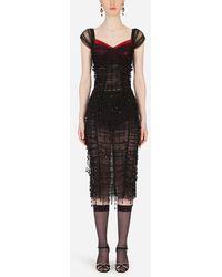 Dolce & Gabbana Calf-Length Dress With Square Neckline - Schwarz