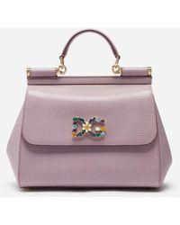 Dolce & Gabbana Medium Calfskin Sicily Bag With Iguana Print And Dg Crystal Logo Patch - Pink