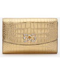 Dolce & Gabbana Micro Bolso Con Estampado De Cocodrilo Laminado - Metálico