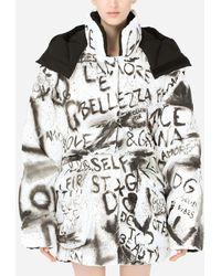 Dolce & Gabbana Nylon Down Jacket With Dg Graffiti Print - Multicolour