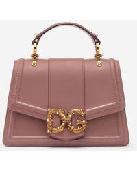 Dolce & Gabbana Dg Amore Bag In Calfskin - Pink