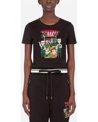 Dolce & Gabbana Jersey T-Shirt With Dg Family Print - Schwarz