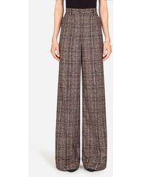 Dolce & Gabbana Flared Pants In Checked Tartan - Marron