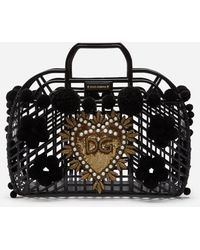 Dolce & Gabbana Pvc Kendra Shopping Bag With Embroidery - Schwarz